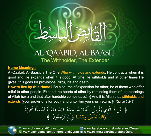And the Answer is       Al-'Qaabid and Al-Baasit! - Understand Al