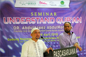 Brother Abdulazeez, on the right, being introduced as founder of Understand Quran Academy and speaker for the live seminar